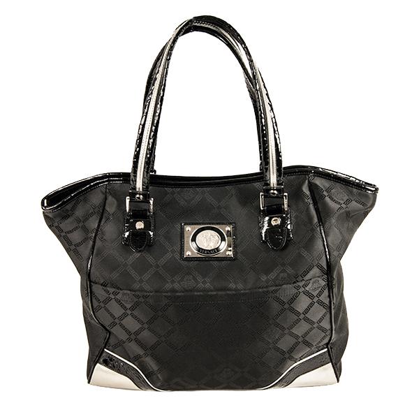 ddb4adfecf50 Черная лаковая текстильная Женская сумка Версаче Versace купить